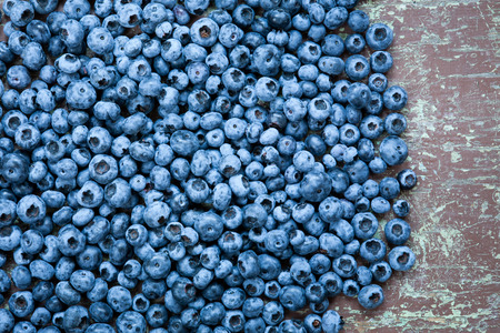 Ripe and fresh picked blueberries close up with copyspace Stock Photo