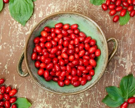 Ripe dogwood berries in a clay bowl on wooden background Stock Photo