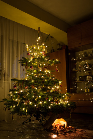 Living room and decorated Christmas tree with reflecting lights and nativity scene