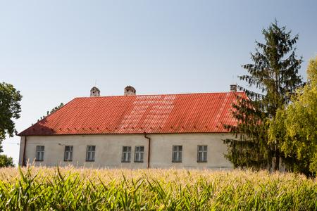 Landschaftsblick auf Bauernhaus und Mais Pflanzen am Feld unter blauem Himmel Lizenzfreie Bilder