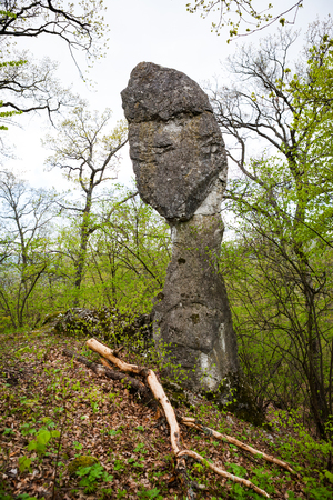 Interesting stone formation in the form of ancient Slavic mythology god Perun