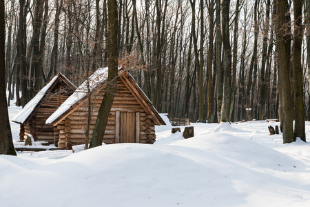 Lonely wooden houses in a deep forest covered with snow Lizenzfreie Bilder