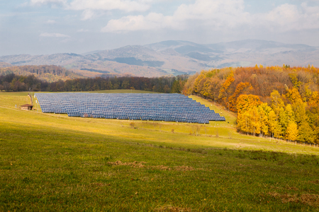 Industrial background on renewable resources with solar power plant in pasture surrounded by forest. Sunny autumn day
