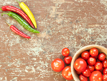 Fresh and healthy vegetables on the table with copy space
