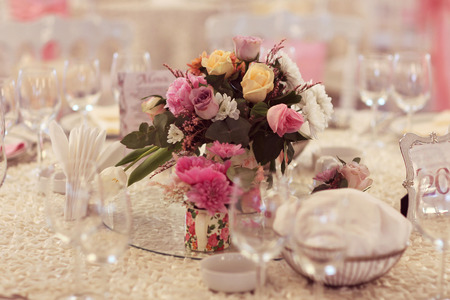 beautifully: Beautifully decorated wedding table Stock Photo