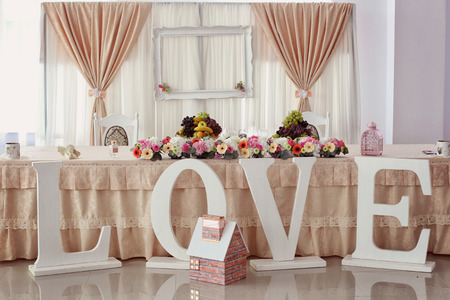decorated wedding table Banque d'images