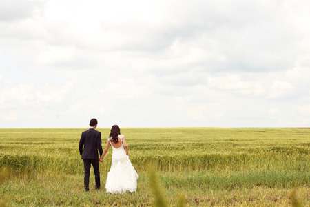 Bride and groom posing in the fields photo