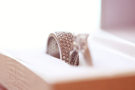 concluding: 2 wedding rings in a box Stock Photo
