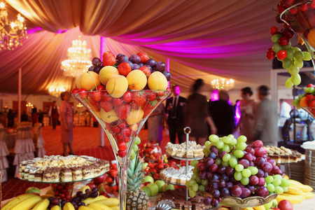 formal dinner party: fruit decoration.