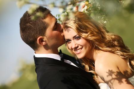 nude bride: Bride and groom in springtime Stock Photo