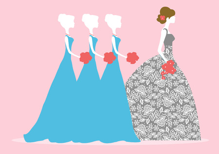wedding bouquet: Vector illustration of a bride and three bridesmaids Illustration