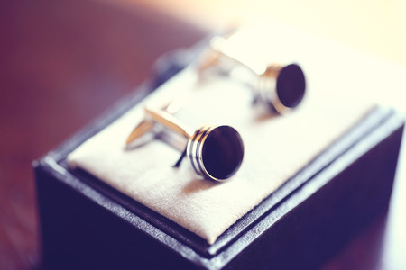 cuff link: Wedding buttons for the groom Stock Photo