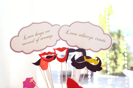 Retro wedding set on table with qoutes about love