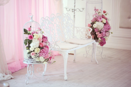 pink wedding: Beautiful wedding flowers in restaurant