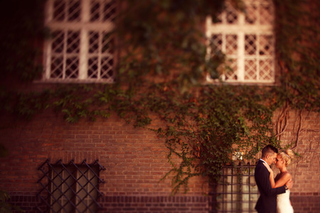 facing a wall: Bride and groom facing a wall