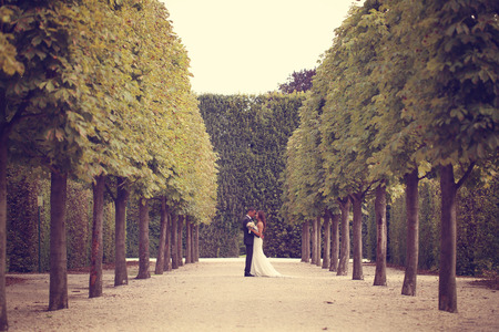simetric: Bride and groom in the park Stock Photo