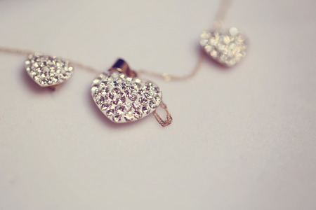Heart shaped neck chain with crystals Stock Photo