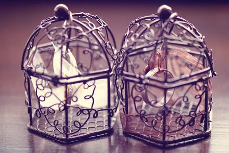 birdcage: Wedding rings in a birdcage Stock Photo