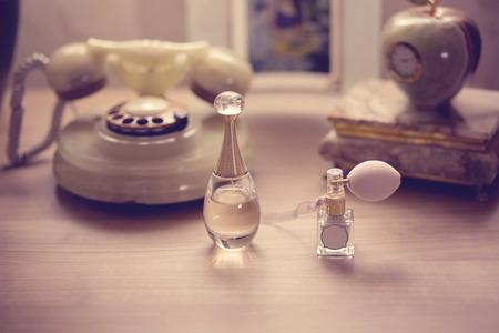 powder room: Perfume bottles on table
