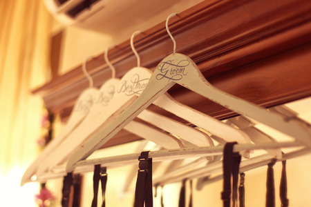 personalized: Personalized hangers for groom and groomsmen