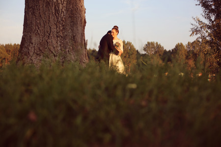 multi story: Bride and groom in nature