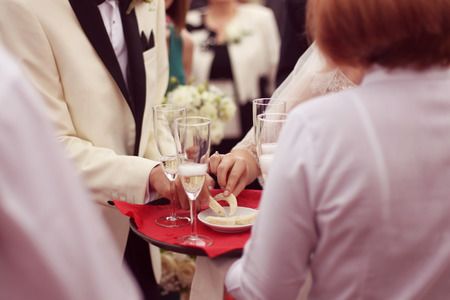 Waiter serving for a wedding Stock Photo