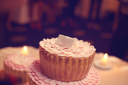 unity small flower: Small delicious cake with candles in the background