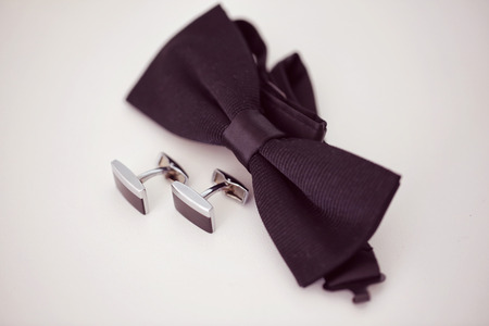 cuff link: Black cuff links Stock Photo