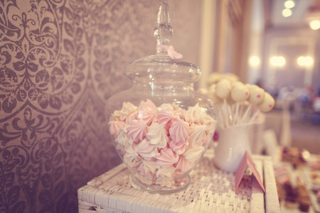pastila: White and pink marshmallows in a jar Stock Photo