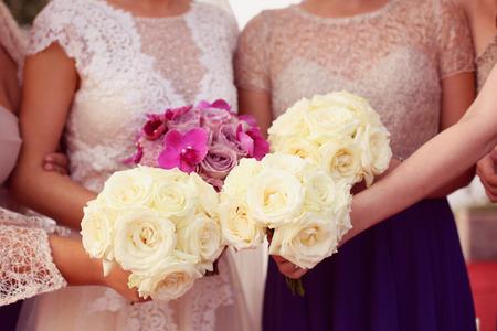 bridesmaids: Bride and bridesmaids wedding bouquet