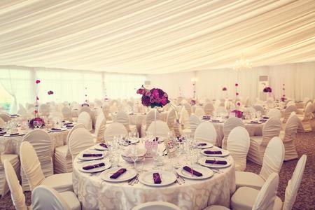 Beautifully decorated wedding table Stock Photo
