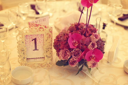 cater: Beautifully decorated wedding table Stock Photo