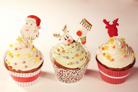christmas cupcakes: Three Christmas cupcakes