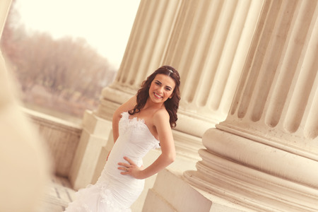 gals: Bride in architectural place