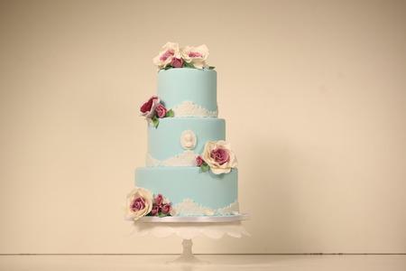 pink wedding: blue wedding cake with roses