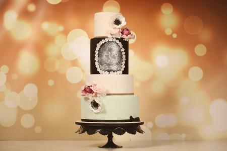 cake tier: 4 tier marzipan cake Stock Photo
