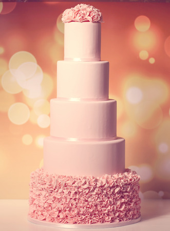 5 tier pink wedding cake