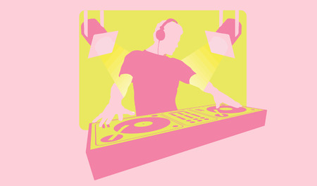 Silhouette of a DJ with headphones mixing at turntable Illustration