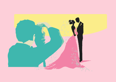 outdoor wedding: Vector illustration of wedding shooting