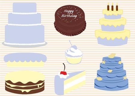 gourmet: Vector set of different gourmet cakes