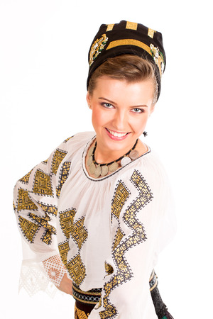 woman wearing traditional Romanian costume