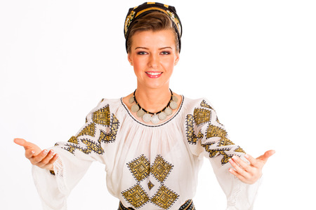 traditional: woman wearing traditional Romanian costume