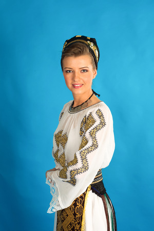 ethnology: woman wearing traditional Romanian costume