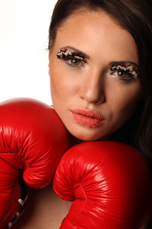 lady in red: Female boxer red gloves