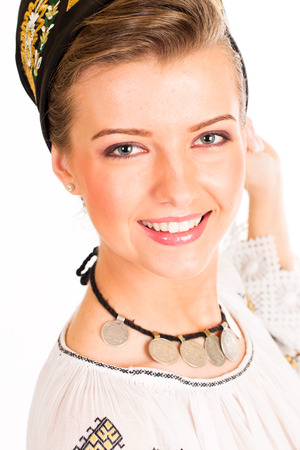 ethnology: woman wearing traditional Romanian clothes