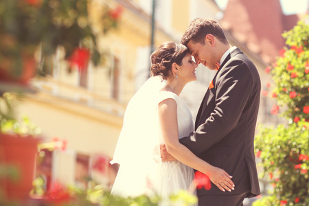 bridal couple: Happy bridal couple embracing in park Stock Photo