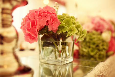 Beautiful flower bouquet on wedding table Banco de Imagens
