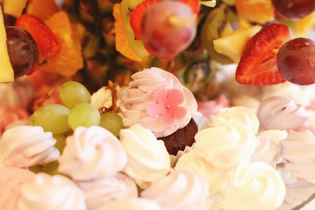afternoon fancy cake: Delicious sweets and fruits
