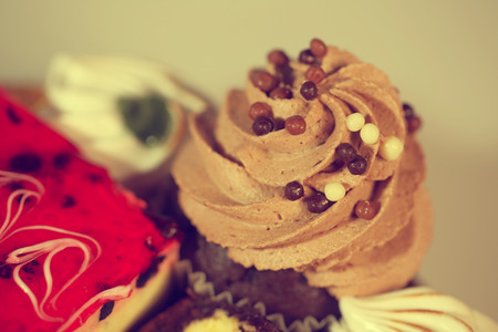 afternoon fancy cake: Delicious chocolate cupcake with sprinkles