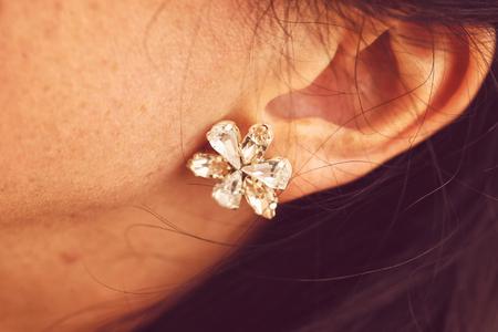 ear rings: Close-up of brides beautiful ear rings